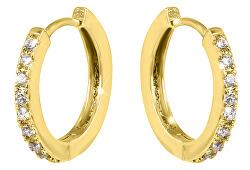 Pozlacené náušnice kroužky s krystaly VREPE003G