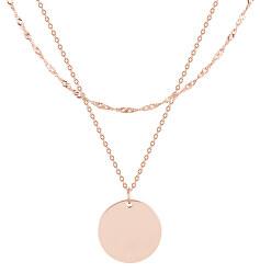 Pozlátený dvojitý oceľový náhrdelník s kruhovým príveskom