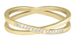 Pozlátený dvojitý prsteň z ocele s čírymi zirkónmi Gold