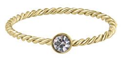 Pozlacený kroucený prsten z oceli s čirým zirkonem Gold