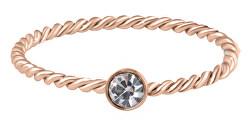 Pozlátený kroucený prsteň z ocele s čírym zirkónom Rose zlaté