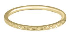 Pozlacený minimalistický prsten z oceli s jemným vzorem Gold