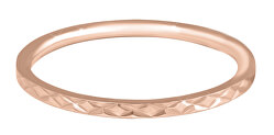 Pozlacený minimalistický prsten z oceli s jemným vzorem Rose Gold