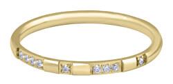 Pozlátený minimalistický prsteň z ocele so zirkónmi Gold