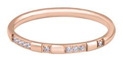 Pozlacený minimalistický prsten z oceli se zirkony Rose Gold