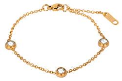Vergoldetes Stahlarmband mit glitzernden Verzierungen