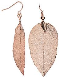 Laurel  Rózsaszín aranyozott fülbevaló Babérlevél