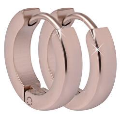 Růžově pozlacené ocelové náušnice kroužky