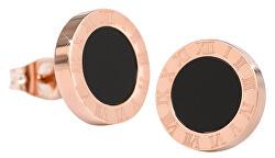 Růžově pozlacené ocelové náušnice s černým středem KE-015
