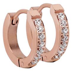 Růžově pozlacené ocelové náušnice s krystaly