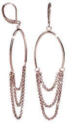 Růžově pozlacené ocelové náušnice s řetízky