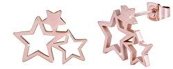 Růžově pozlacené ocelové náušnice se třemi hvězdičkami