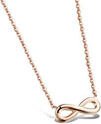 Růžově pozlacený ocelový náhrdelník Nekonečno KNS-271