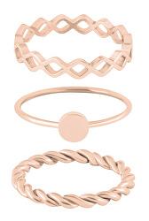 Růžově zlacená sada ocelových prstenů
