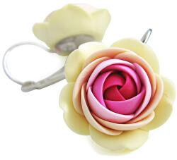 Ružovo-vanilkové visiace náušnice v tvare kvietkov Summer Flower