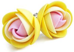 Ružovo-žlté náušnice puzetky kvietky