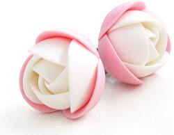 Ružovo-biele náušnice puzetky kytičky