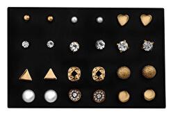 Sada elegantních pozlacených náušnic - pecky Gold (12 párů)
