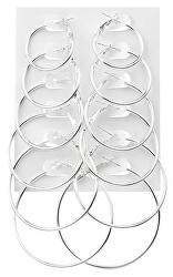 Sada moderních kruhových náušnic Silver (6 párů)