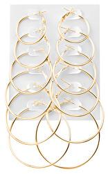 Sada pozlacených kruhových náušnic Gold (6 párů)