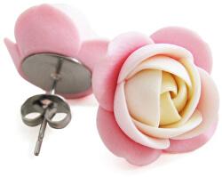 Smotanovo-ružové náušnice puzetky kytičky