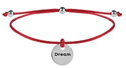 Šnúrkový náramok Dream červená / oceľová