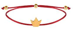 Schnur-Armband Krone Rot/Gold