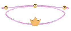 Schnur Armband Krone Rosa/Stahl