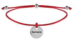 Schnur Armband Namaste Rot/Stahl
