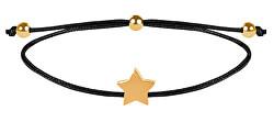 Šňůrkový náramek s hvězdičkou černá/zlatá
