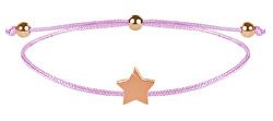 Šnúrkový náramok s hviezdičkou ružová / bronzová
