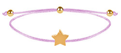 Šňůrkový náramek s hvězdičkou růžová/zlatá