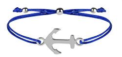Šňůrkový náramek s kotvou modrá/ocelová