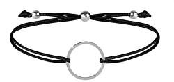 Šňůrkový náramek s kruhem černá/ocelová