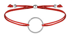 Šňůrkový náramek s kruhem červená/ocelová