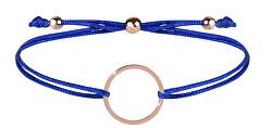 Šnúrkový náramok s kruhom modrá / bronzová