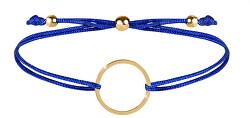 Šnúrkový náramok s kruhom modrá / zlatá