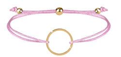 Šňůrkový náramek s kruhem růžová/zlatá
