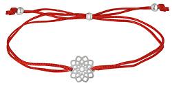Lanyard Armband mit Mandala Rot / Stahl