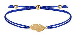 Šňůrkový náramek s peříčkem modrá/zlatá