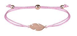 Schnur Armband mit Feder Rosa/Bronze