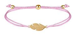 Šňůrkový náramek s peříčkem růžová/zlatá
