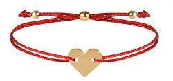 Šnúrkový náramok so srdcom červená / zlatá