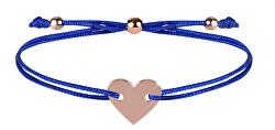 Šňůrkový náramek se srdcem modrá/bronzová