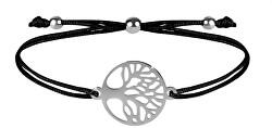 Šňůrkový náramek se stromem života černá/ocelová