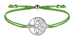 Šnúrkový náramok so stromom života zelená / oceľová