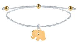 Schnur-Armband Elefant Weiß/Gold
