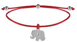 Šnúrkový náramok Slon červená / oceľová