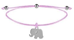 Schnur-Armband Elefant Rosa/Stahl