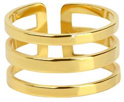 Stylový trojitý prsten z pozlacené oceli